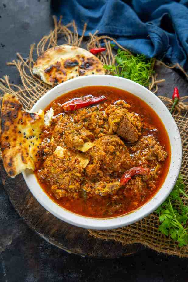 Mutton Rara served in a bowl.