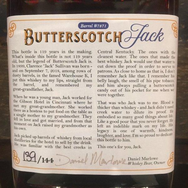 Whiskey Bear - Barrel Select - Knob Creek 090718 - Butterscotch Jack