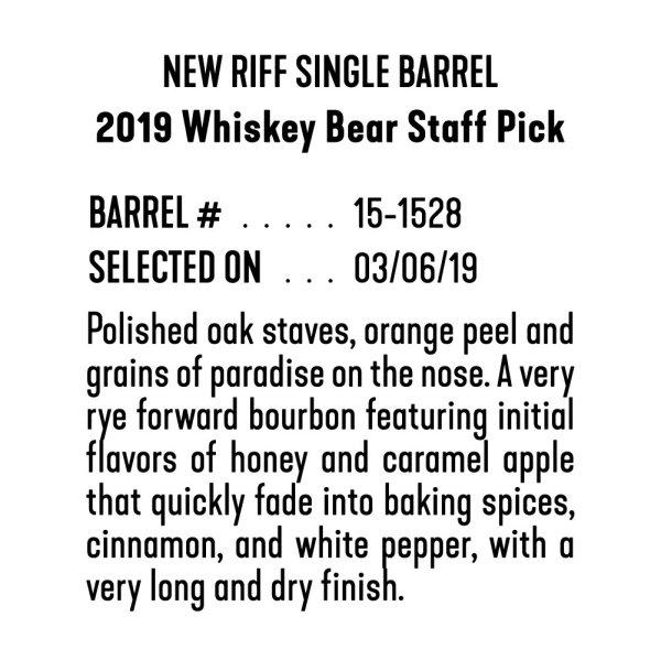 Whiskey Bear - Barrel Select - New Riff 030619 - 2019 Staff Pick