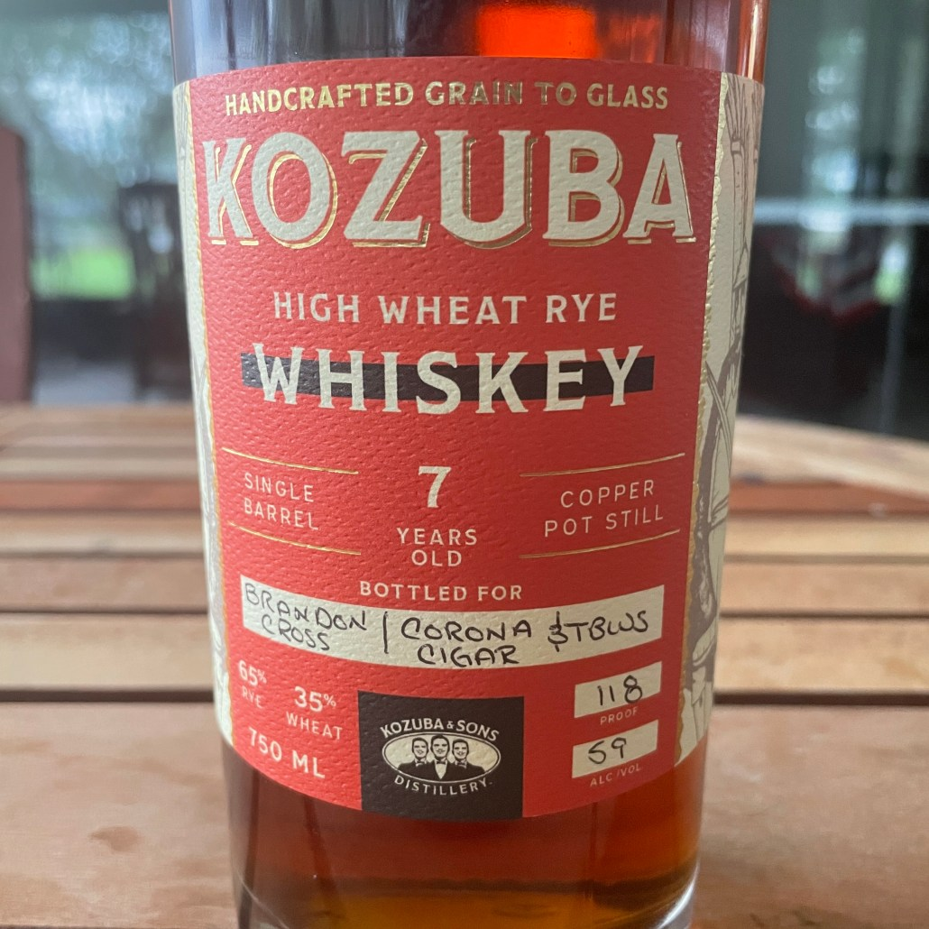 A picture of the front label of Kozuba & Sons High Wheat Rye Whiskey 7 Year Pick from Davidoff of Geneva in Tampa, FL