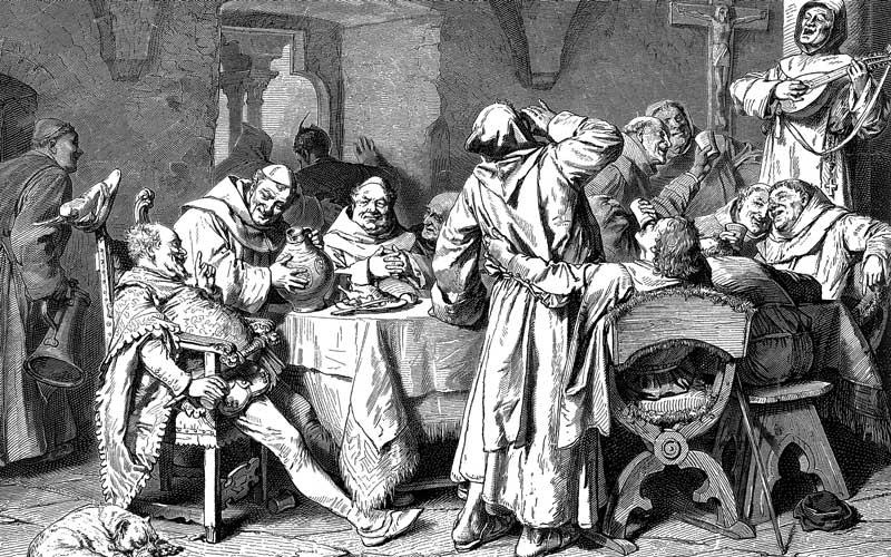 Monks enjoying alcohol