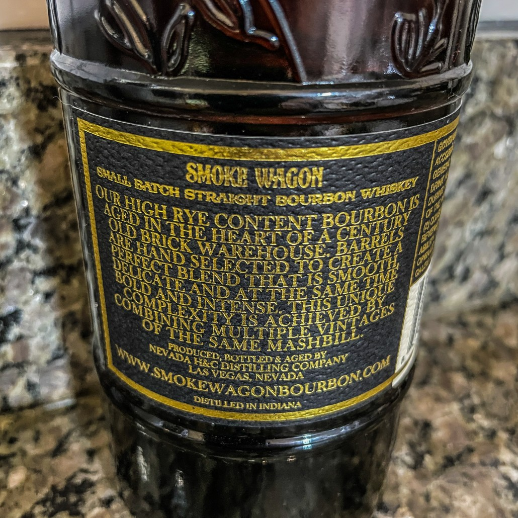 The Back Label of a bottle of smoke wagon small batch