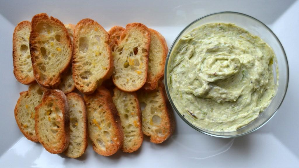 Roasted asparagus & garlic ricotta spread on broiled lemon baguettes