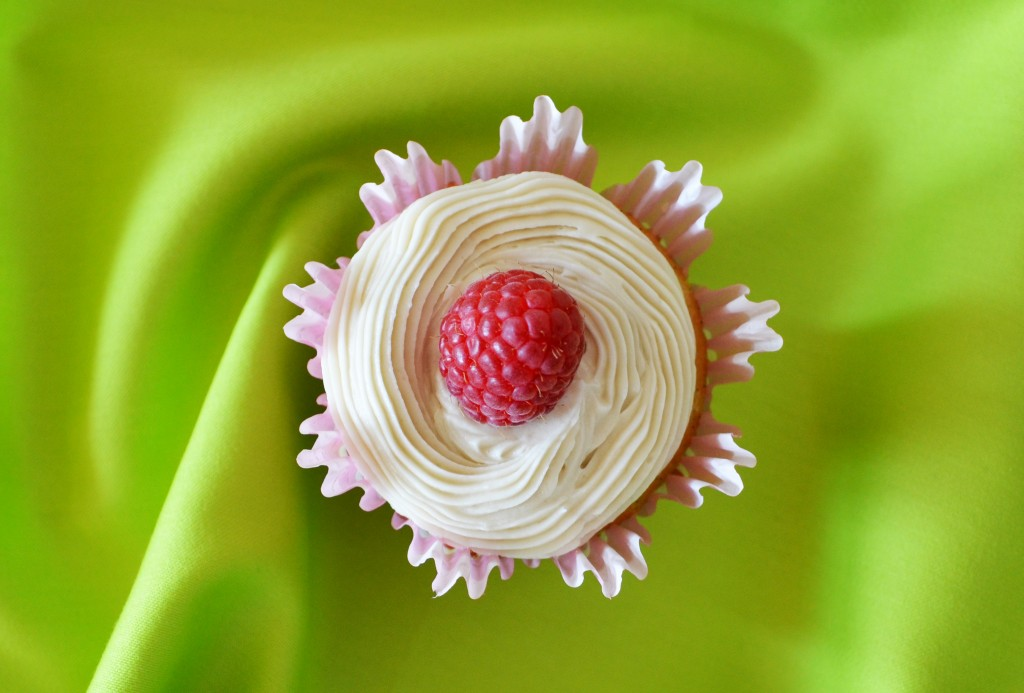 Raspberry Cream Filled Vanilla Cupcakes with Cream Cheese Frosting