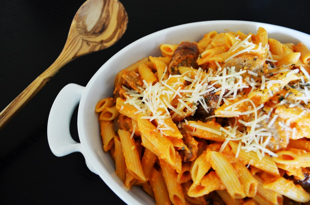 Penne with Fresh Tomato Sauce and Grilled Sausage
