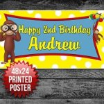 Curious George Birthday Personalized Custom Banner