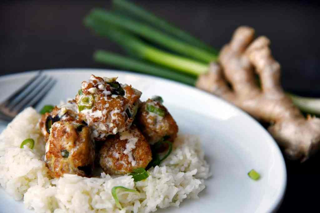 Chicken Scallion Ginger Meatballs with Garlic Lemon Cream Sauce