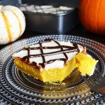 Easy Pumpkin Cake with Cream Cheese Frosting and Drizzled Chocolate sauce