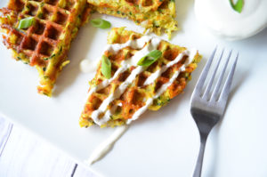 The Best Waffled Zucchini with Two Ingriendient Lemon Sauce
