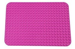 "Premium Pink Base Plate - 15"" x 10.5"" Baseplate (LEGO® DUPLO® Compatible) - Large Pegs Only"