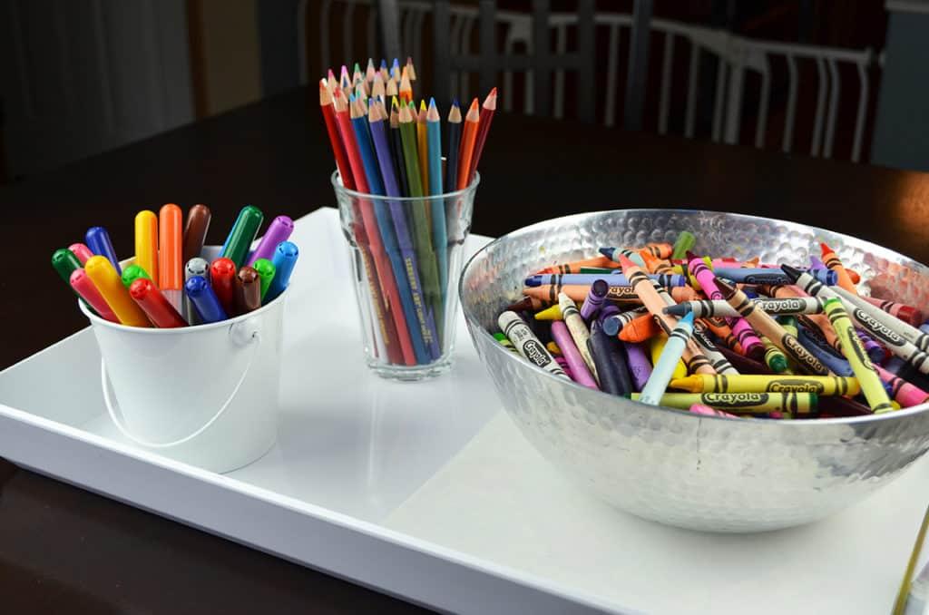 coloring tray centerpiece