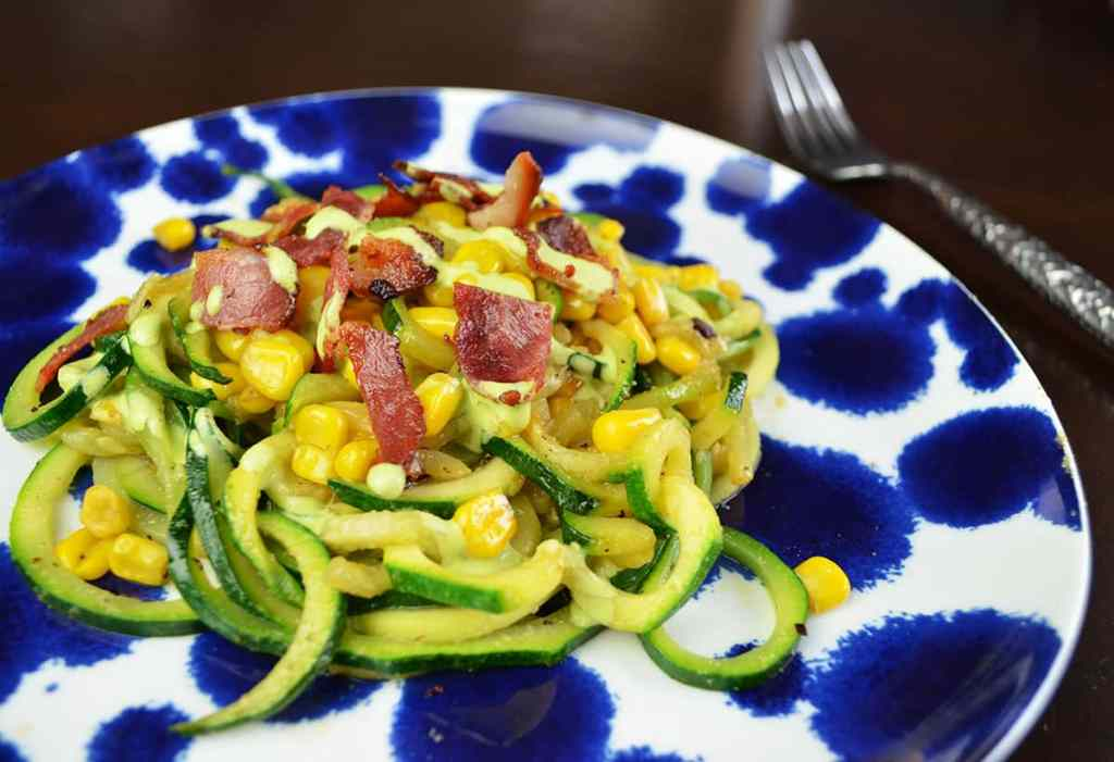 Zoodles with Bacon Corn and Cilantro Lime Sauce