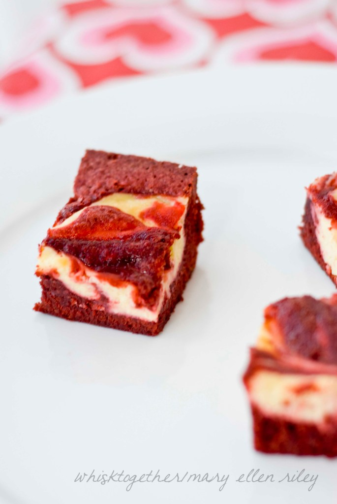 Red Velvet Cheesecake Bars on Whisk Together