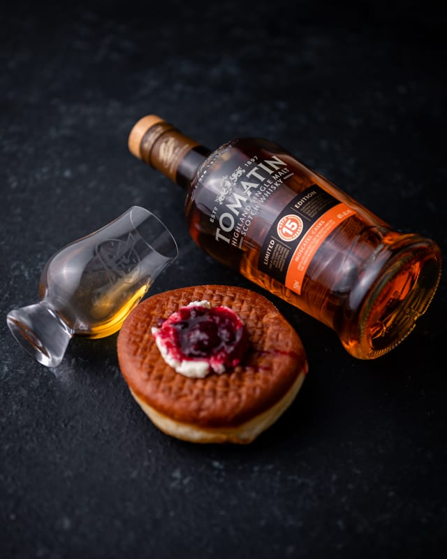 Tomatin 15YO Moscatel - Plum Ricotta Fry Bread - Whisky And Donuts - WhiskyAndDonuts