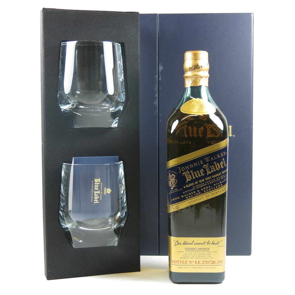 Johnnie Walker Blue Label With Glasses Whisky Auctioneer