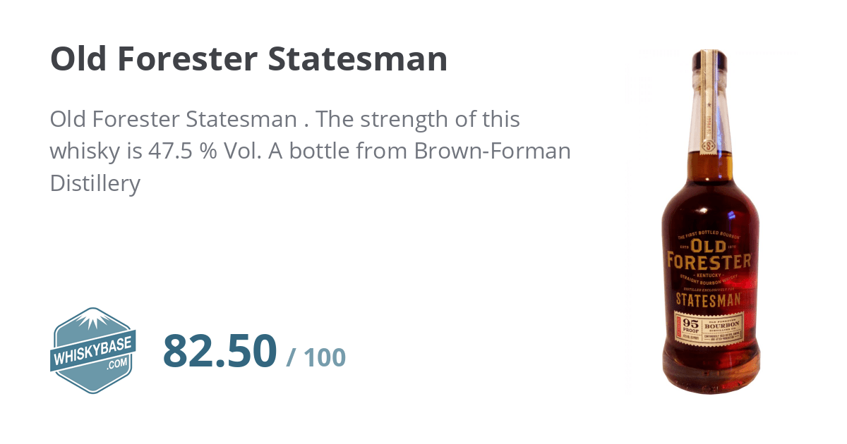 Old Forester Statesman - Ratings and reviews - Whiskybase