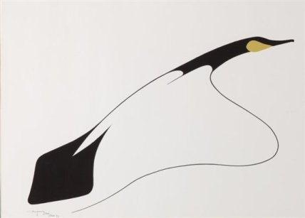 an image of Benjamin Chee Chee's series of painting of geese. It is somewhat abstract with minimal gestures and only black and gold colors.