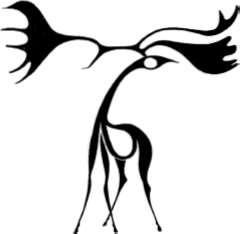 an image of an abstract interpretation of a moose by artist Benjamin Chee Chee. The black and white image is flowing and graceful and a displays a superb use of solid void relationships to depict the head and body. The antlers are oversized and gracefully extend from the head of the moose . Together with the arched neck they convey a sense of motion.