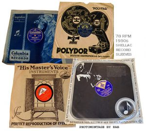 An image of early record sleeves made of paper.