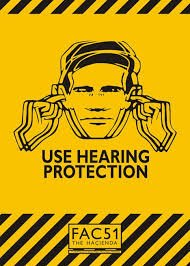 peter saville's first design for factory records. an event poster showing a blurred image of a person holding their ears with the phrase use hearing protection underneath.