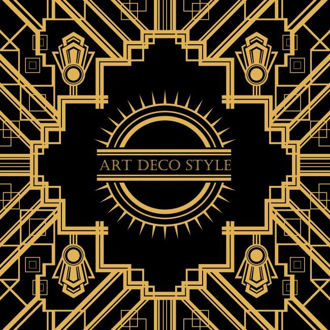 art deco abstract with Art Deco Style in words in the middle