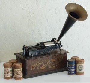 edison phonograph with cartridges in front