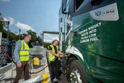 Refuelling the trucks with Distilleries Director, Stuart Watts