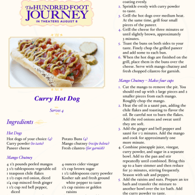 THE HUNDRED-FOOT JOURNEY Curry Hot Dog Recipe #FoodieFriday ‪#‎100FootJourneyEvent