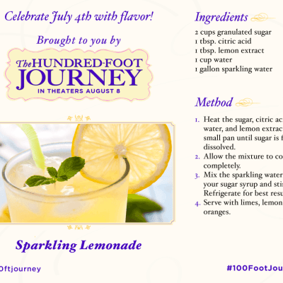 Sparkling Lemonade Recipe from THE HUNDRED-FOOT JOURNEY #FoodieFriday ‪#‎100FootJourneyEvent