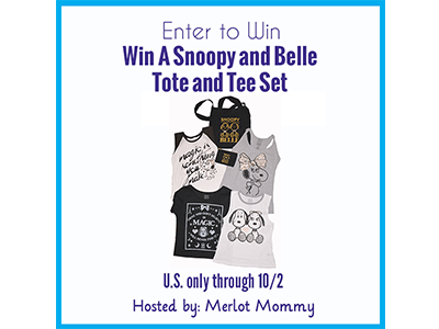Win A Snoopy and Belle Tote and Tee Set #Giveaway ends 10/2