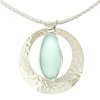 full moon sea glass pendant