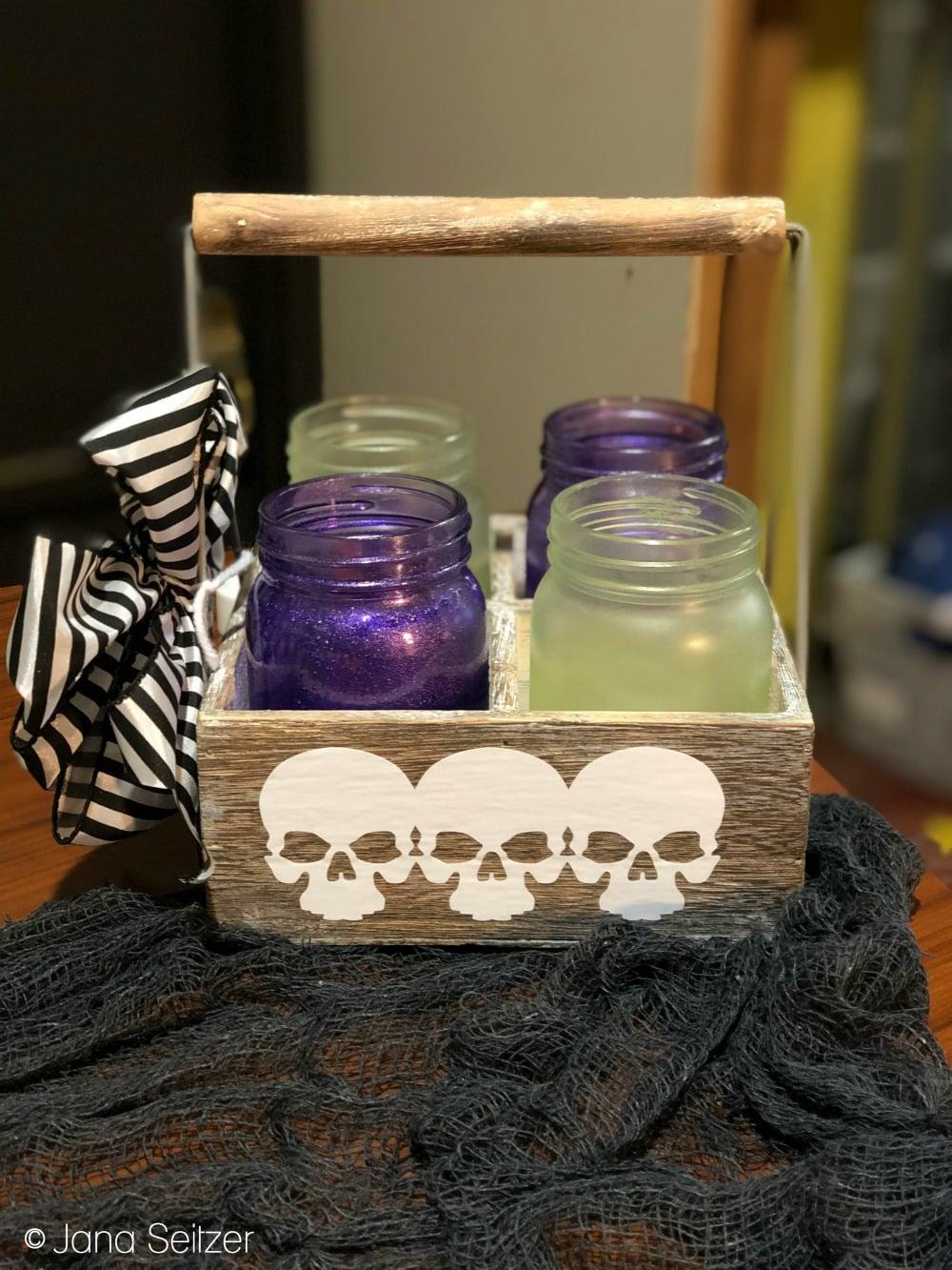Poison Mason Jars and Caddy - DIY Halloween Decor
