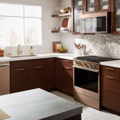 Whirlpool Sunset Bronze Gas Convection Range for a Smart Home and Smart Kitchen