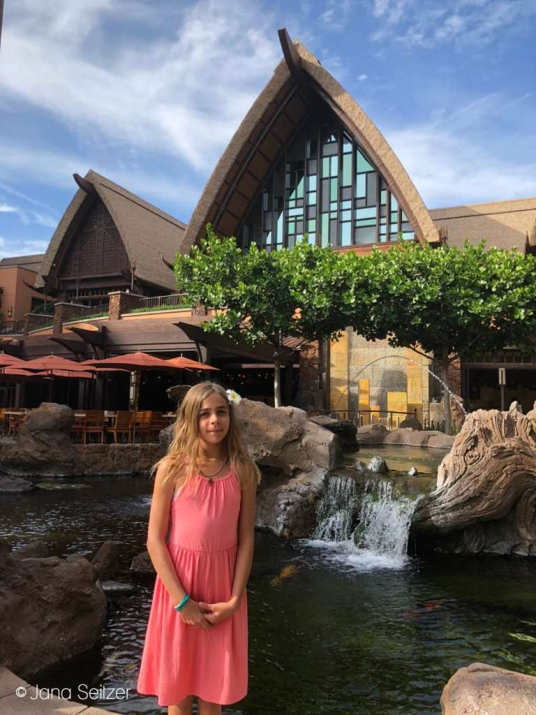 photo in front of Disney Aulani Resort