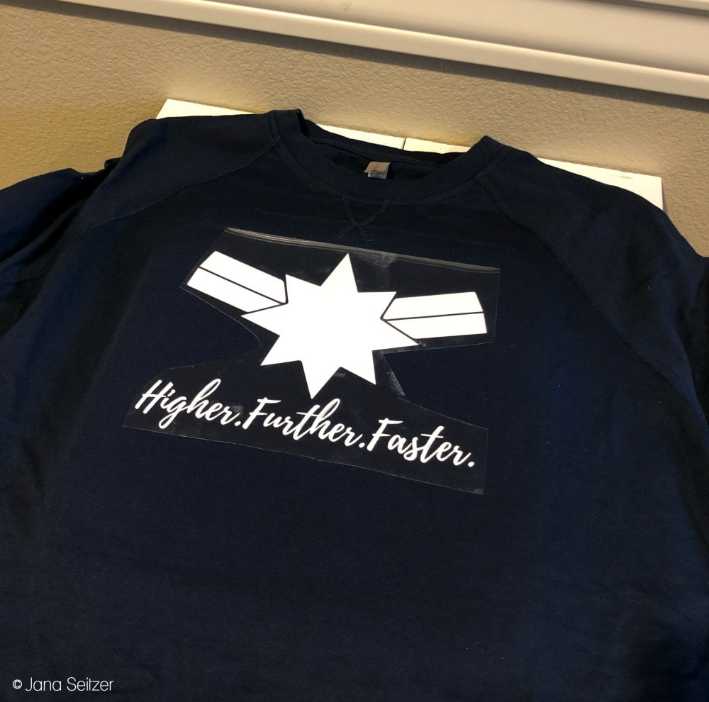 DIY Captain Marvel Higher Further Faster Shirt