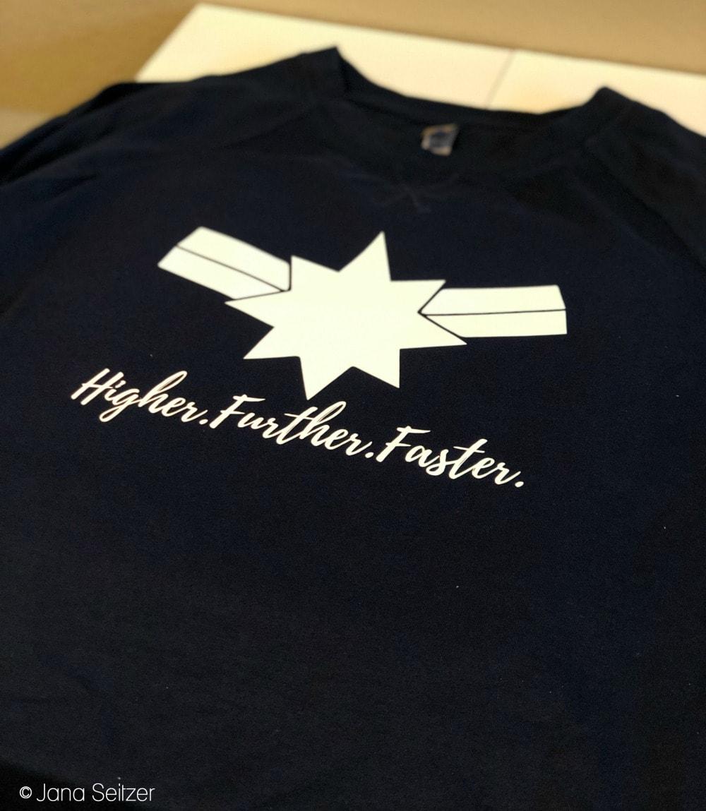 a04699f92b49 DIY Captain Marvel Higher Further Faster Shirt | Whisky + Sunshine