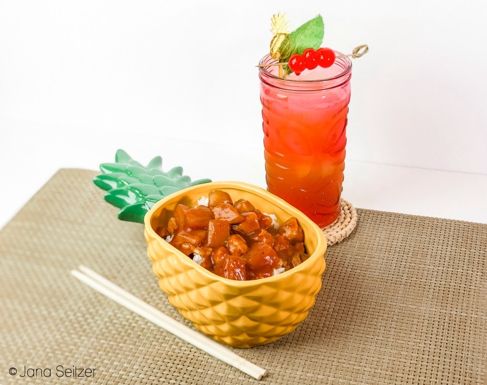 Classic Zombie Cocktail and Hawaiian Pineapple Chicken