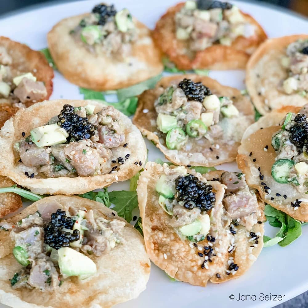 Albacore Tuna Crudo Cucumber, Serrano Ponzu, Furikake, Jordan Winery Chef's Reserve Caviar