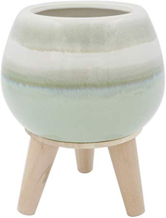 Rivet Mid-Century Stoneware Planter with Wood Stand