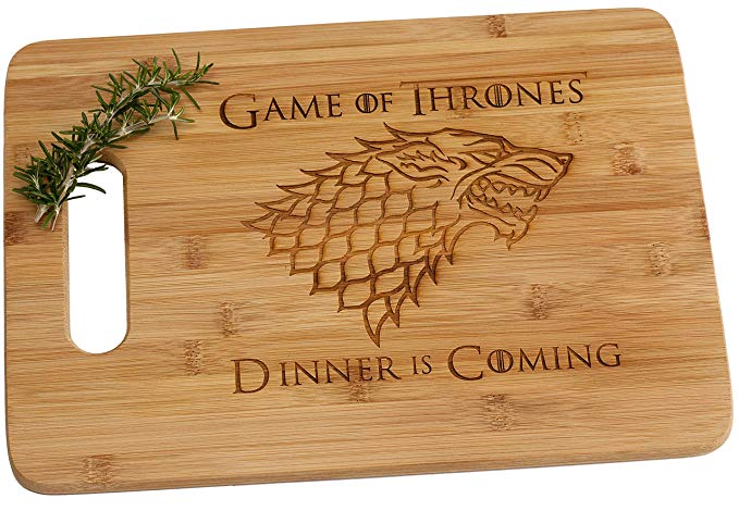 Game of Thrones Dinner is Coming Laser Engraved Bamboo Wood Cutting Board