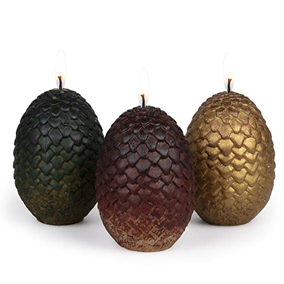 Game of Thrones Sculpted Dragon Egg Candles, Set of 3