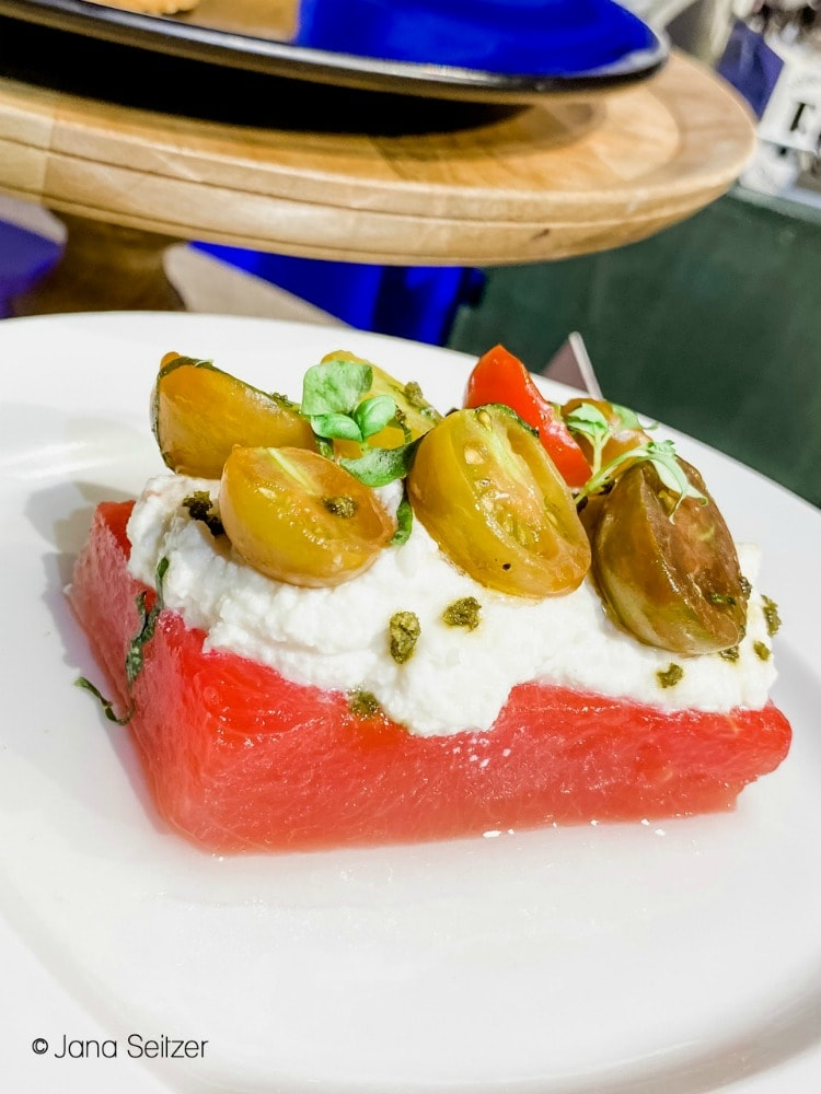 Compressed Watermelon and Tomato with Whipped Ricotta and Lemon Olive Oil disneyland food and wine festival