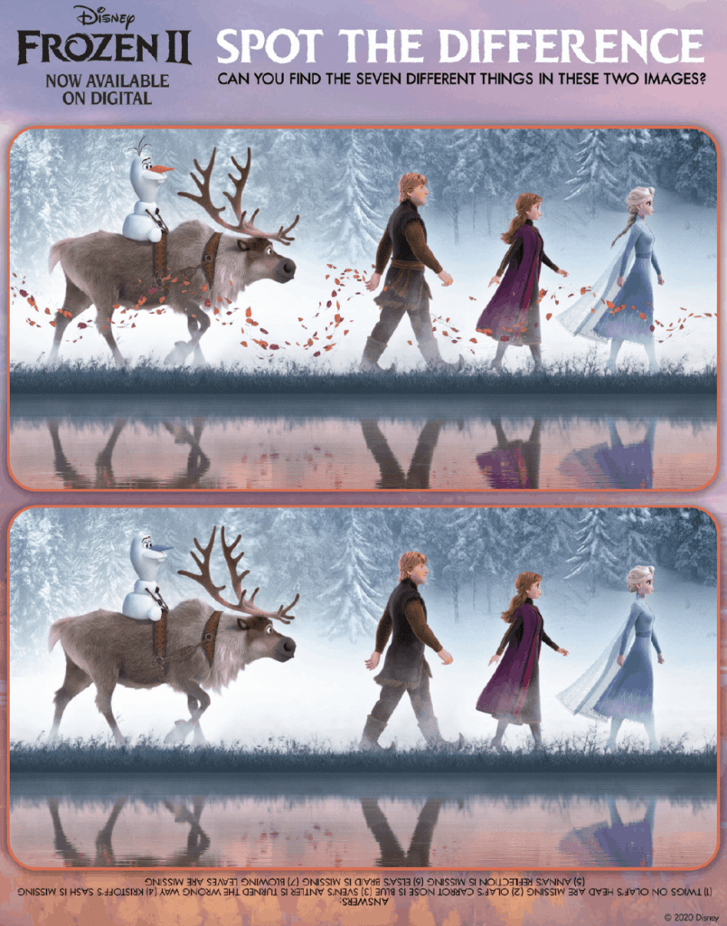 frozen 2 spot the differences