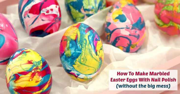 Marbled Easter Eggs With Nail Polish (without the big mess)