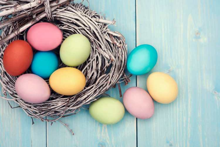colorful easter eggs on the table