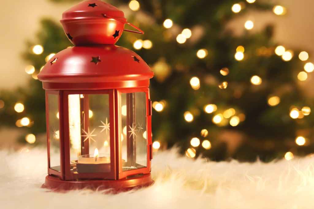 Christmas lantern with tree at night