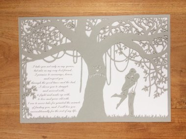 Commission Papercut Elizabeth - Total piece on wood - Whispering Paper
