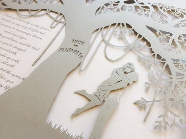 Commission Papercut Elizabeth - Detail from right - Whispering Paper