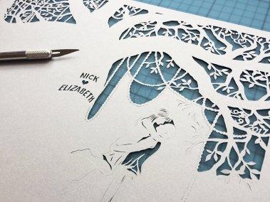 Commission Papercut Elizabeth - Detail work in Progress - Whispering Paper