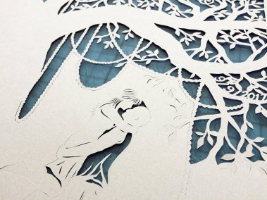 Commission Papercut Elizabeth - Work in Progress couple - Whispering Paper